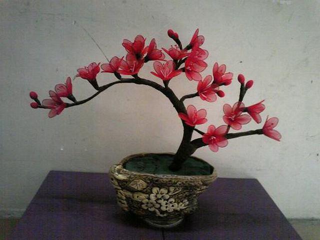 Mẫu hoa đào bằng vải voan