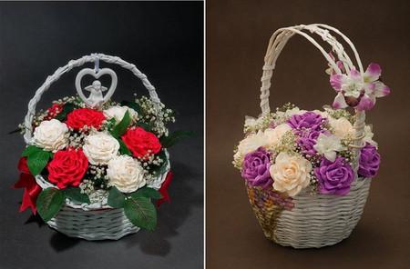 Giỏ hoa hồng bằng giấy nhún