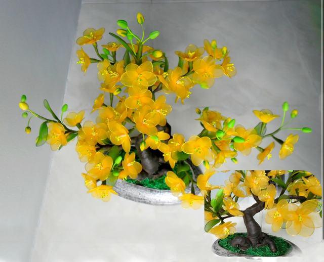Mẫu hoa mai bằng vải voan