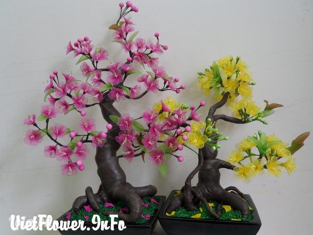 Mẫu Hoa mai - Hoa đào bằng vải voan cho ngày tết