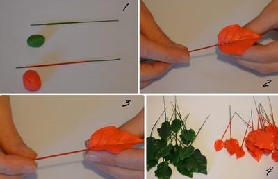 Nặn hoa trạng nguyên từ đất sét (bước 3)