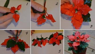 Nặn hoa trạng nguyên từ đất sét (bước 5)