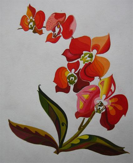 Vẽ cách điệu Hoa lan (bước tô màu)