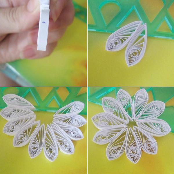Làm hoa cúc từ giấy cuộn (bước2)