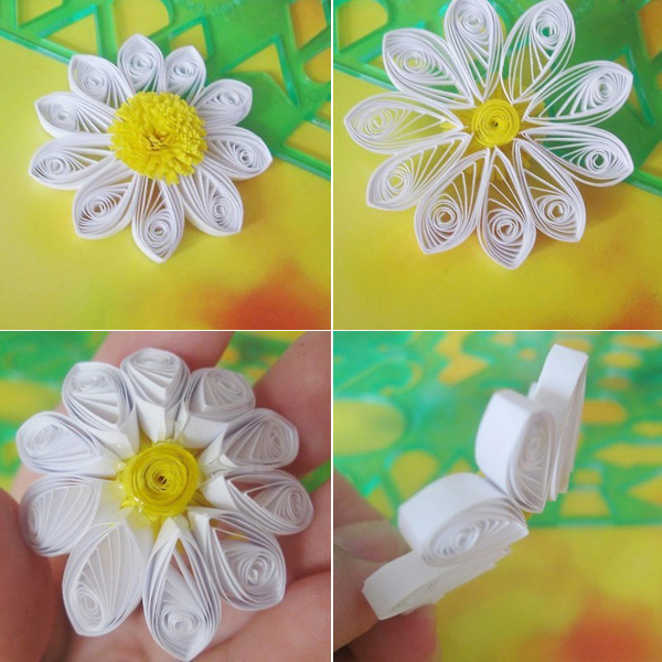 Làm hoa cúc từ giấy cuộn (bước 3)