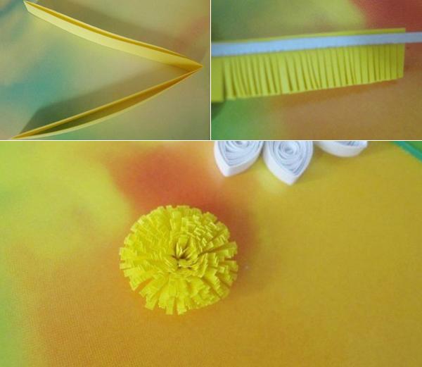 Làm hoa cúc từ giấy cuộn (bước 4)
