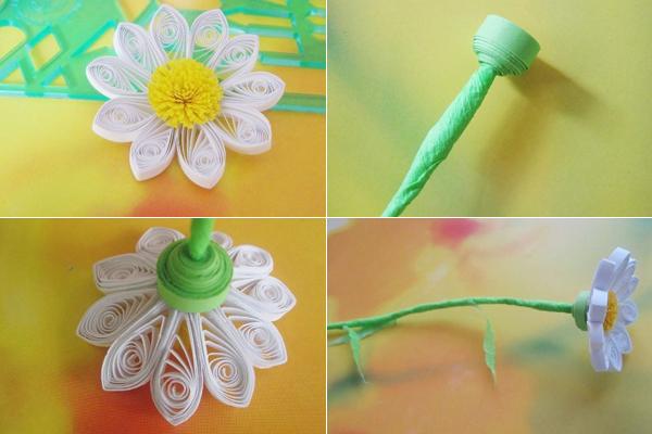 Làm hoa cúc từ giấy cuộn (bước 6)