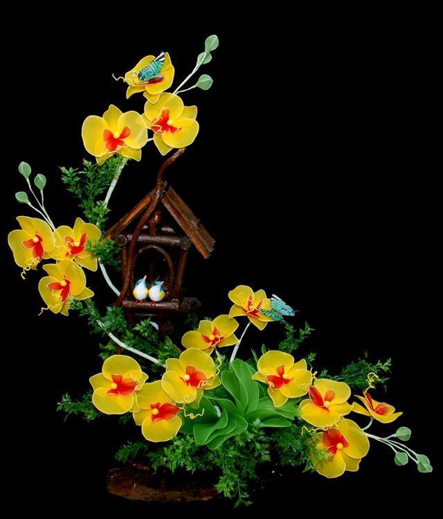 Mẫu hoa lan bằng vải voan
