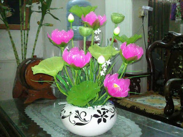 mẫu hoa sen bằng vải voan tuyệt đẹp