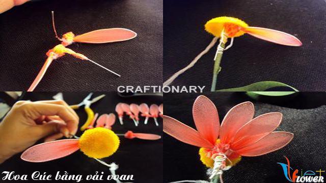 Làm hoa cúc nhiều màu bằng vải voan - bước 2