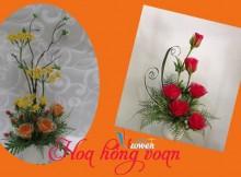 hoa hồng bằng vải voan