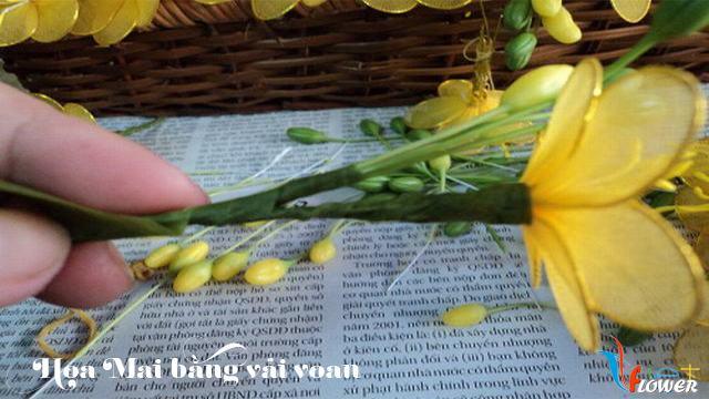 Làm hoa mai bằng vải voan - bước 10