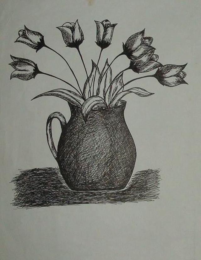 hình vẽ bình hoa tulip bằng bút chì