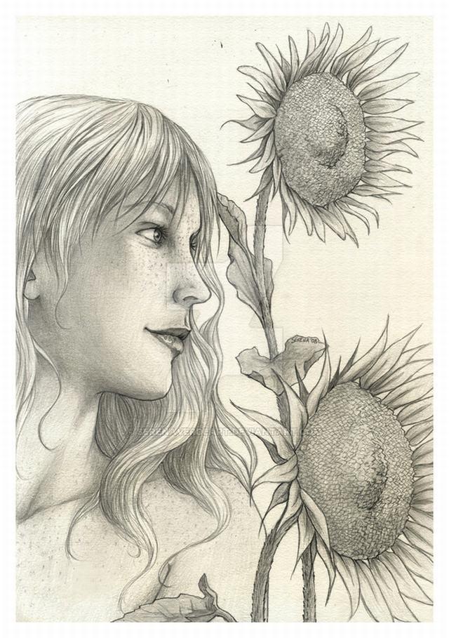 hình vẽ thiếu nữ và hoa hướng dương bằng bút chì
