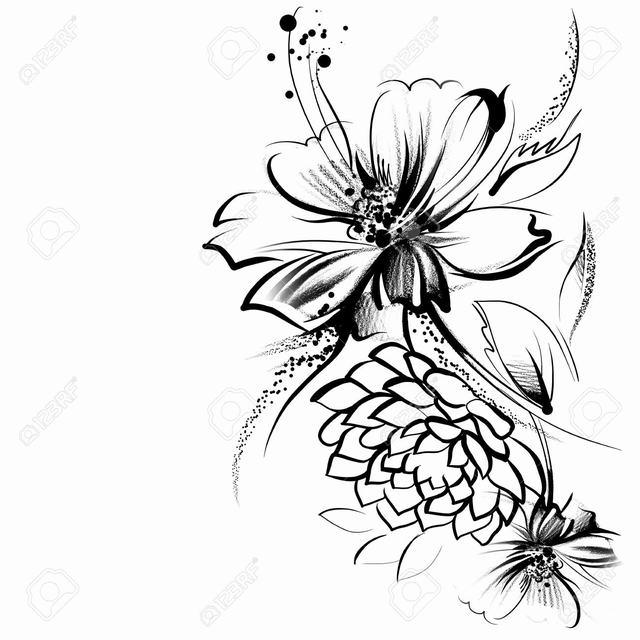 hình vẽ hoa cách điệu bút chì
