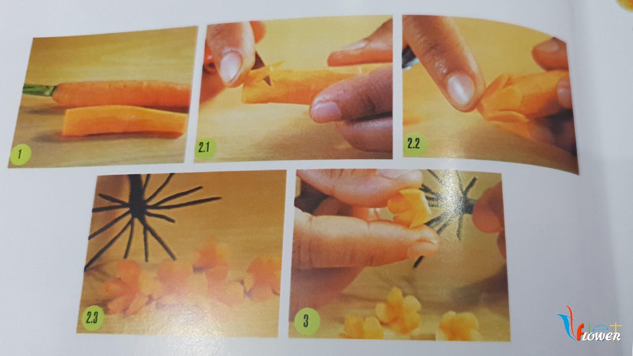 Tỉa hoa vàng từ cà rốt