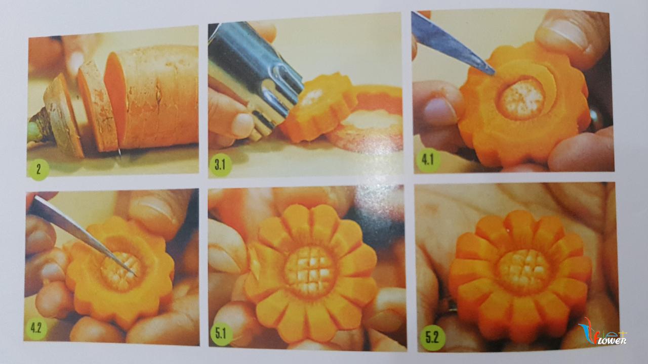 Tỉa hoa cúc từ cà rốt
