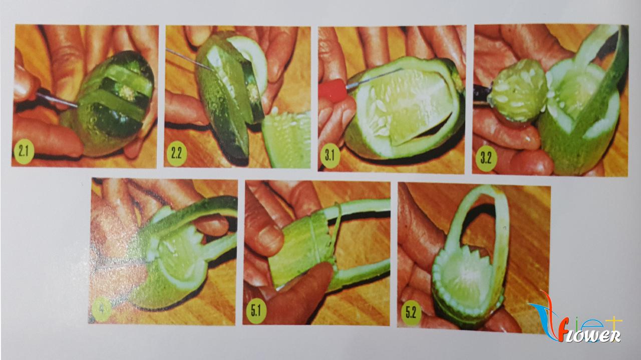 Tỉa dưa leo tạo giỏ trái cây