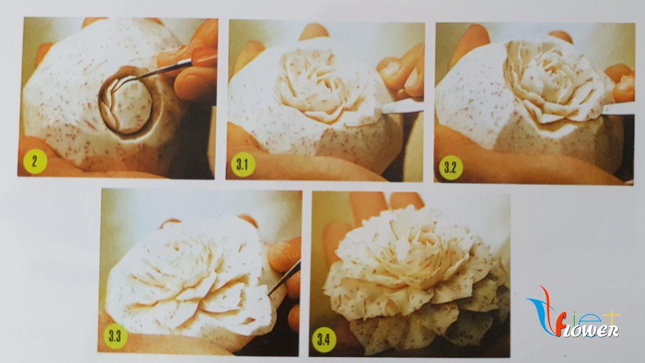 Tỉa hoa hồng từ khoai môn