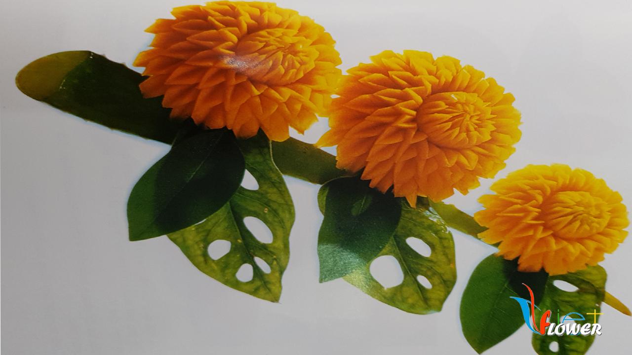 Tỉa hoa thược dược từ bí đỏ