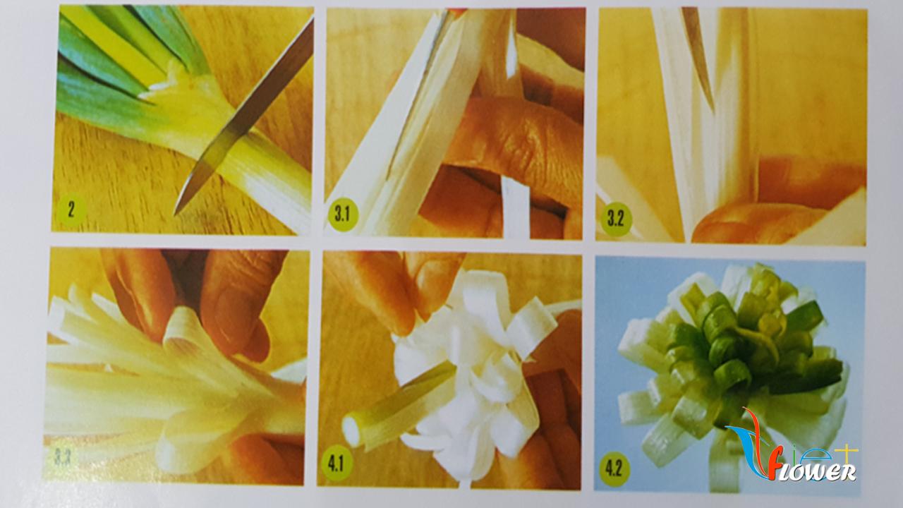 Tỉa hoa cúc từ tỏi tây