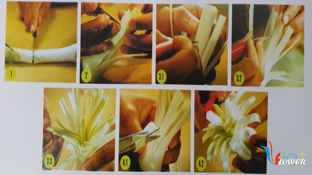 Tỉa hoa giấy từ tỏi tây